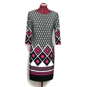 Joseph Ribkoff Dress 6 White Black Pink Stretch